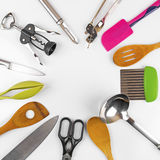 Kitchen utensils with blank space in the middle Royalty Free Stock Image