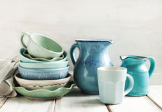 Kitchen utensils. In blue colour royalty free stock photography