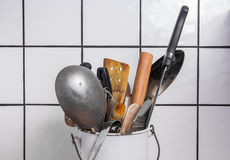 Kitchen utensils in a bucket Royalty Free Stock Photography