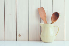 Kitchen utensils in ceramic jug Stock Photography