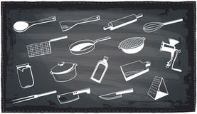 Kitchen utensils chalkboard design. Stock Image