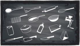 Kitchen utensils chalkboard design. Stock Image