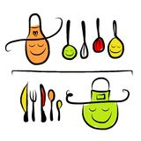 Kitchen utensils characters on shelves, sketch Royalty Free Stock Images