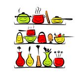 Kitchen utensils characters on shelves, sketch Royalty Free Stock Photo
