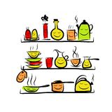 Kitchen utensils characters on shelves, sketch Royalty Free Stock Photography