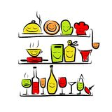 Kitchen utensils characters on shelves, sketch Royalty Free Stock Photos