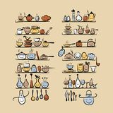 Kitchen utensils characters on shelves, sketch Stock Image