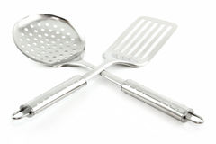 Kitchen Utensils (Colander and Spatula) Isolated Royalty Free Stock Photo