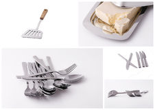 Kitchen utensils collage. Collage of stainless kitchen utensils Stock Images