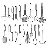 Kitchen Utensils. A collection of different kinds of kitchen utensils with sketch style. It contains hi-res JPG, PDF and Illustrator 9 files Royalty Free Stock Image