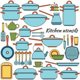 Kitchen utensils colorful icons set. Vector illustration. Stock Photos