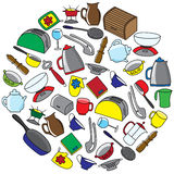 Kitchen utensils colorful vector set. Stock Photography