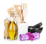 Kitchen utensils and condiments Stock Image
