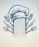 Kitchen utensils for cooking fork knife spoon and cap Stock Photos