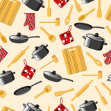 Kitchen utensils. Cooking. Seamless background. Frying pan, saucepan, cutting Board, rolling pin and other. Vector illustration vector illustration