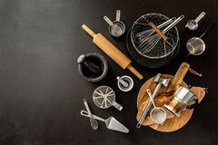 Free Kitchen Utensils Cooking Tools On Black Background, Free Copy Space Royalty Free Stock Photography - 184252627