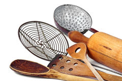 Kitchen utensils for cooking. Wooden old kitchen utensils for cooking Royalty Free Stock Photography