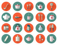 Kitchen utensils and cookware flat icons set, cooking tools Royalty Free Stock Photo