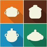 Kitchen utensils and cookware flat icons set Stock Photo