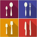 Kitchen utensils and cookware flat icons set Stock Image