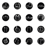 Kitchen utensils and cookware hand drawn black and white icons set Royalty Free Stock Images