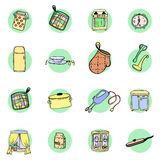 Kitchen utensils and cookware hand drawn icons set Stock Photos
