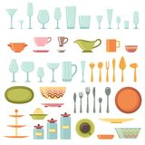 Kitchen utensils and cookware icons set Royalty Free Stock Image