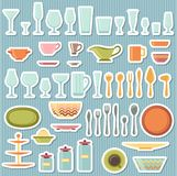 Kitchen utensils and cookware icons set Stock Photos