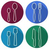 Kitchen utensils and cookware line art design Royalty Free Stock Photography