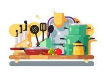 Kitchen utensils design flat Stock Photo
