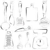 Kitchen utensils design in freehand style Royalty Free Stock Photo