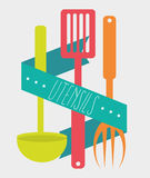 Kitchen utensils and equipment icon Stock Images
