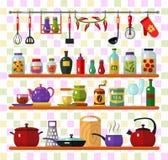 Kitchen utensils and equipment. Vector flat style icons set of kitchen utensils and cooking. Kettle, pan, tea, coffee, glasses, whisk, jam jar, bottles, salt & Royalty Free Stock Photo