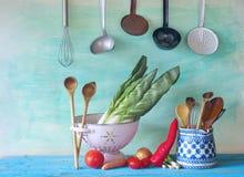 Kitchen utensils, food ingredients Stock Images