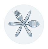Kitchen utensils fork knife and spoon Stock Photo