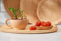 Kitchen utensils with fresh vegetable and fruit on the table. Kitchen still life stock photos