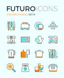 Kitchen utensils futuro line icons Stock Photography