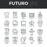 Kitchen Utensils Futuro Line Icons Set Stock Photos