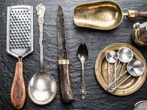 Kitchen utensils on a graphite background. Stock Image