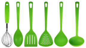 Kitchen utensils - green Stock Photos