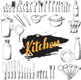 Kitchen utensils hand draw set, Royalty Free Stock Images