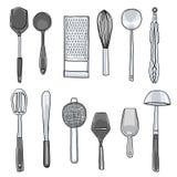 Kitchen utensils hand drawn cute art illustration Royalty Free Stock Image