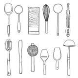 Kitchen utensils hand drawn  line art illustration. Kitchen utensils hand drawn cute line art illustration Stock Photography