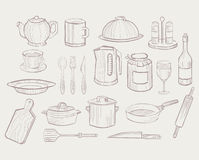 Kitchen Utensils hand drawn style, Vector Royalty Free Stock Images