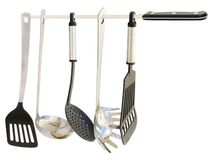 Kitchen Utensils Hanging From A Knife Royalty Free Stock Photography