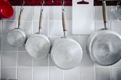 Kitchen. Utensils hanging. Interior decoration Royalty Free Stock Photos