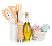 Kitchen utensils in holder and condiments Stock Images
