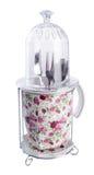 Kitchen utensils holder. Kitchen utensils holder on background. Royalty Free Stock Image