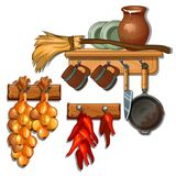 Kitchen utensils, household preparations. Plates, mugs, jug, frying pan, knife, broom, onion and pepper on shelves Stock Photo