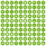 100 kitchen utensils icons hexagon green. 100 kitchen utensils icons set in green hexagon isolated vector illustration Royalty Free Stock Photography